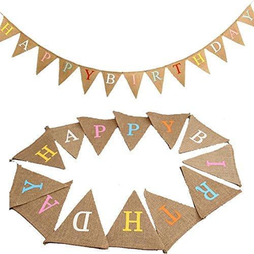 G2Plus banderines de papel bandera de 10pies Banner Pennant bandera guirnaldas gamuza de tela triángulo banderas Vintage de doble cara shabby chic decoración para fiestas de cumpleaños, Ceremonias, cocina