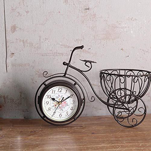 Littlefairy Mantel ClocksCreative Home Bicycle Double Clock Living Room Iron Mute Clock Ornament Ornaments 37 * 17 * 25cm