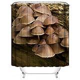 YAOFUTEE Duschvorhang Dekor,Wild Forest Mushrooms Pattern Wasserdichtes Mehltau Polyester Gewebe Duschvorhang Badezimmer 48