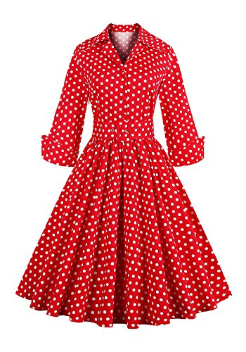 Botomi Damen Kleid polka -dot - sieben viertel vintage - kleid, 08.S red, (Plus Polka Kleid Dot Size Red)