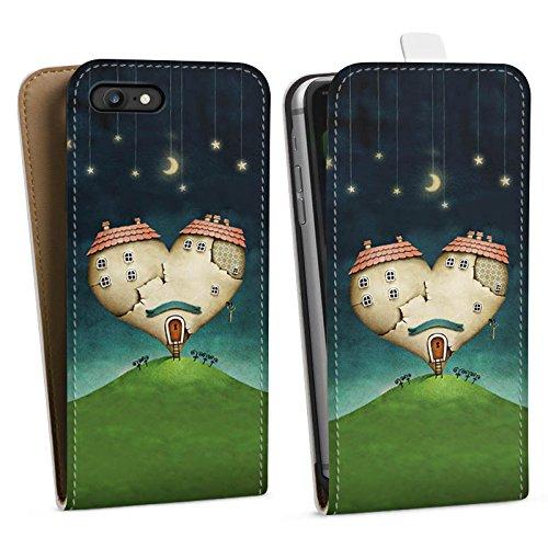 Apple iPhone X Silikon Hülle Case Schutzhülle Liebe Herz Haus Downflip Tasche weiß