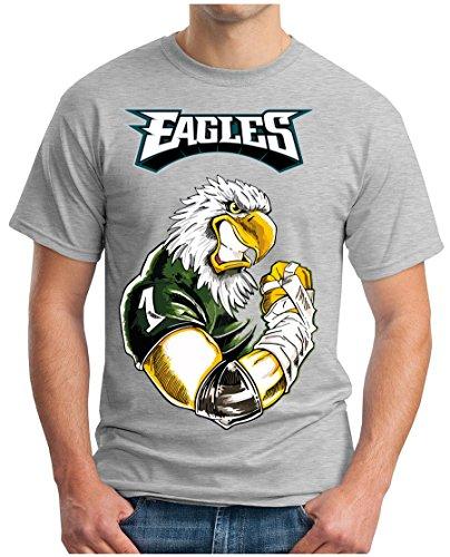 OM3® - Philadelphia Swoop - T-Shirt   Herren   American Football Shirt   4XL, Grau Meliert
