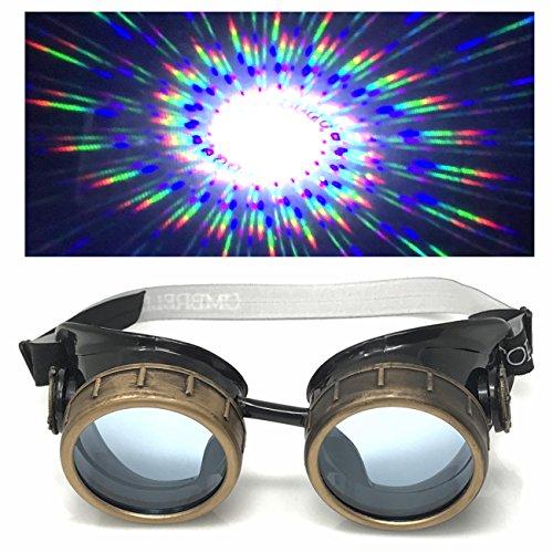Steampunk Brille mit UV-Licht glow in der Dunkelheit Neon blau Spirale Beugung Gläser Rave Kostümzubehör Musikfestival Punk Cyber Gothic ()