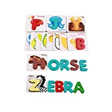 mxdmai 1 Set Holzbuchstaben Matching Puzzle ABCs Karten mit Tieren für Vorschulkleinkinder Pädagogisches Spielzeug