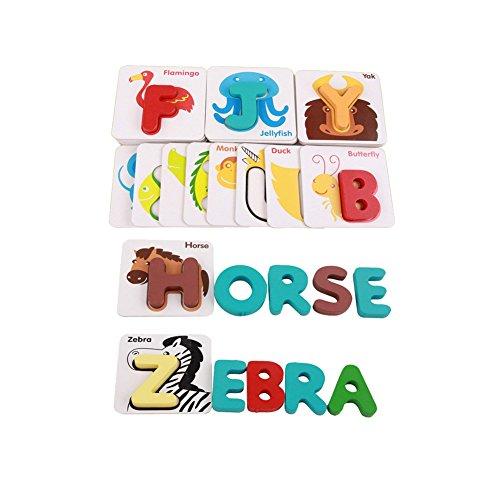 (Ndier Alphabet Buchstaben Matching Puzzle ABCs Flash-Karten Halloween Spielzeug mit Tieren für Kinder Vorschule Kleinkinder)