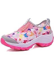 Zapatos de tacón brillante de las señoras Zapatillas de deporte ocasionales de la manera del verano respirable y ligero , pink , 40