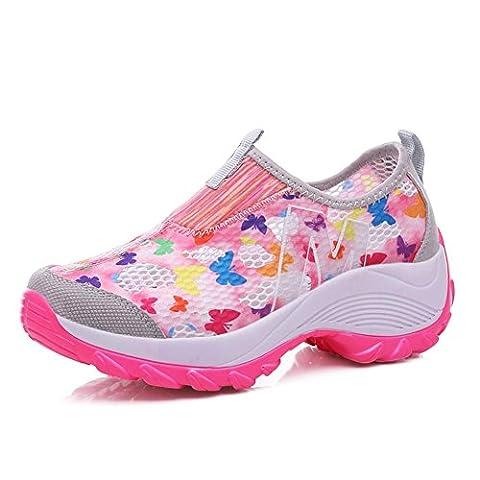 Damen-helle Ineinander greifen-Schuhe Sommer-Art- und Weisebeiläufige Turnschuhe Breathable und leichtes , pink ,