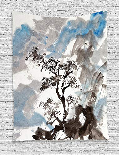Tapisserie Wandbehang Wandteppiche Japanese Decor Collection Hazy Artistic Depiction of A Pine Tree Landscape on the Hill Mountain with Rough Blasts Bedroom Living Room Wall Hanging Tapestry Blue Grey -