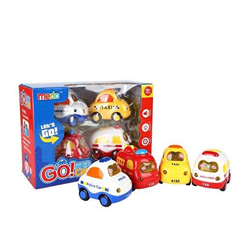 SainSmart Jr. Coches y camiones de juguete 4 Conjunto Push and Go Mini coches, Fricción, Botón De La Pantalla De Luz Y Música, Coche De Policía, Coche De Bomberos, Ambulancia, Taxi
