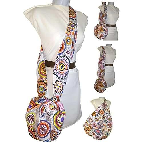 ofertas para el dia de la madre Bolso bandolera de mujer MANDALA, que se hace gigante. Vale para todo, vestir, la playa, la compra, ETC. Exclusivo y patentado. Solo se vende en AMAZON HANDMADE.
