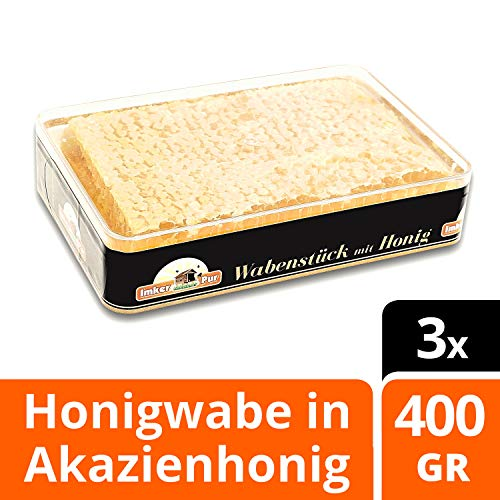 ImkerPur Rayon de miel d'acacia très aromatique (année 2018), lot de 3, 400g par pièce (1200g au total), dans un boîtier alimentaire fraîcheur de haute qualité