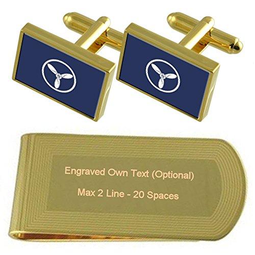 RAF Airforce Abzeichen Rang Senior Flugzeuge Techniker Gold-Manschettenknöpfe Geldscheinklammer Gravur Geschenkset (Air-force-geld-clip)