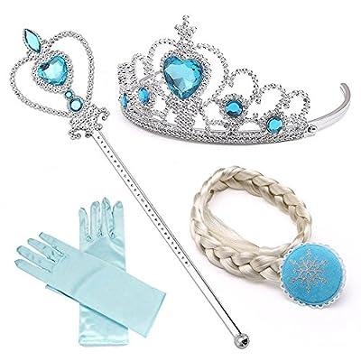 NNDOLL Accesorios Princesa de Hielo Elsa, Diadema,Varita y Clip de Trenza 2-9 años por NNDOLL