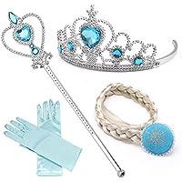elsa princesa de hielo, tiara, guantes, varita mágica y clips de tejido de 2-9 años, azul