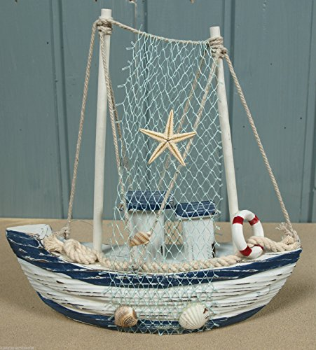 Holz Fischerboot Boot mit Fangnetz 20,5x20x5,5cm für die maritime Deko