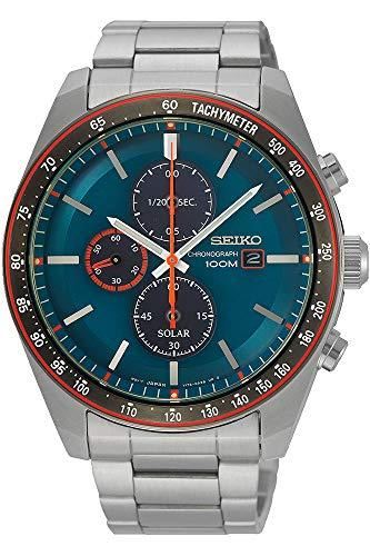SEIKO Herren Chronograph Solar Uhr mit Edelstahl Armband SSC717P1 (Seiko Solar Herren-uhr)