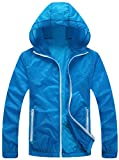 Mochoose Damen Super Leichte Outdoor Hoodie Jacke Schnell Trocken Windbreaker Breathable UV Schützen Sie den Mantel(Blau,M)
