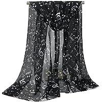 Leisial Mujer Pañuelos Gasa de Larga Símbolo Musical del Abrigo del Mantón de Bufandas Suave Gasa