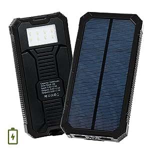 Caricatore solare, Levin® Caricabatterie Solare da 15000mAh con 8 LED Lampadine Dual-USB Caricatore Pannello Solare Portatile Caricatore Urgenza per IPhone, IPad,IPod, Cellulare, Tablet, Camera (Nero)