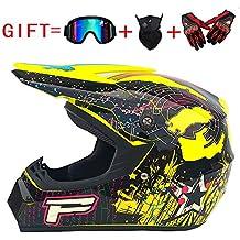 XBTOO Motocross Casco, Gafas, Guantes, Máscara, Dot Moto Casco (4 Colores