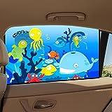 Sonnenschutz Auto, Auto Sonnenschutz Baby Seitensch mit Zertifiziertem UV Schutz Selbsthaftende,Aibesser Universal Sonnenblende im 2er Pack 78 x 50cm