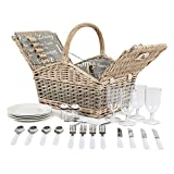 Coast Country 4 Person Willow Wicker Picnic Hamper CC10005