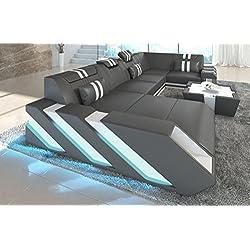 Sofá de piel APOLLONIA en forma de U con LED