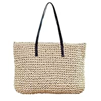 Walkretynbe Fashion Women Handbag,Rattan Wicker Woven Bag Large Capacity Beach Leisure Tote Shoulder Bag Beige