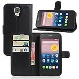 Tasche für Alcatel Pixi 4 (5.0 zoll) 5010D 3G Version Hülle, Ycloud PU Ledertasche Flip Cover Wallet Case Handyhülle mit Stand Function Credit Card Slots Bookstyle Purse Design schwarz