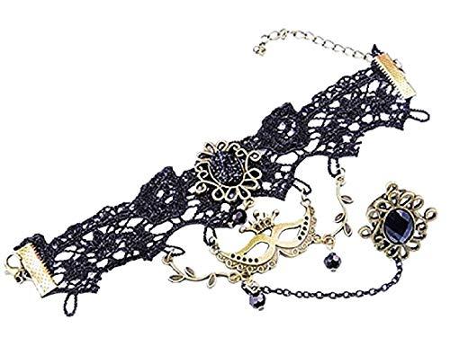 r damenring Frauen Ring Damenarmband Venezianische Maske Damen Armband Anhänger Spitze Schwarze Farbe ()