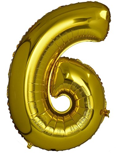 Number 6 Foil Balloon Gold (30inch) , Birthday Party Supplies , Party Foil Balloon - Large