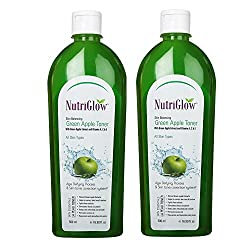 Nutriglow Skin Balancing Green Apple Toner With Vitamin A,C & E Skin Tonic 500 ml Pack of 2
