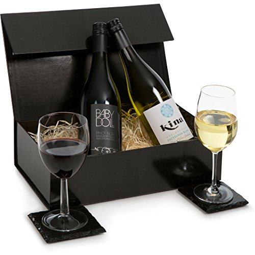 Cesta de regalo de vino de lujo de Nueva Zelanda - Marlborough Sauvignon Blanc & Pinot Noir - Regalo de dos botellas de vino blanco y tinto