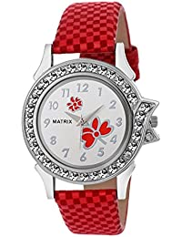 Matrix White Dial & Red Leather Strap Analog Watch with Stone Studded Work for Women's/Girls- (WN-15)