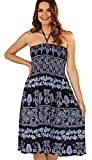 Dannii Matthews Ladies 100% Crepe 3 in 1 Floral Print Bandeau/Halter Summer Dress or Long Maxi Skirt, Navy, Large