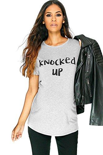 Gris Femme Emma T-shirt De Grossesse Imprimé Knocked Up Gris