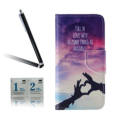 ARTLU® BQ Aquarius M5.0 Taschen Schalen PU Leder Tasche Schutzhülle Hülle Handy Etui Schale mit Ständerfunktion und Kreditkartenfächer für BQ Aquaris M5 (5.0 inches)A09