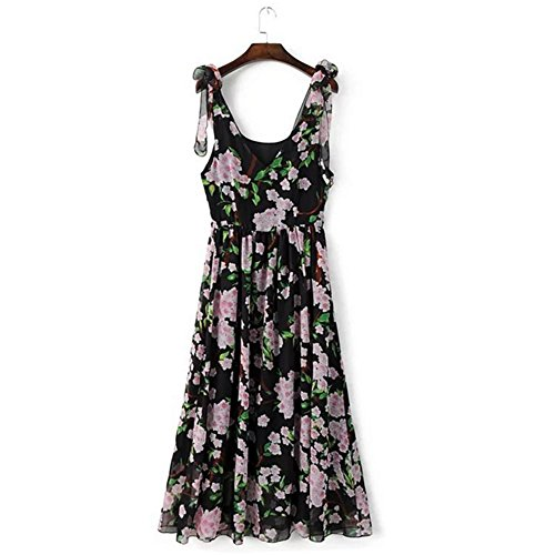 Summer nouvelle femelle sangle fleur robe v cou manches sans manches Robes de plage black base