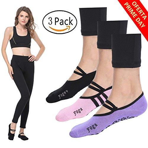 Calcetines Pilates Yoga Antideslizantes Traspirable Mujer para Barra Ballet Danza ( 3 Par)