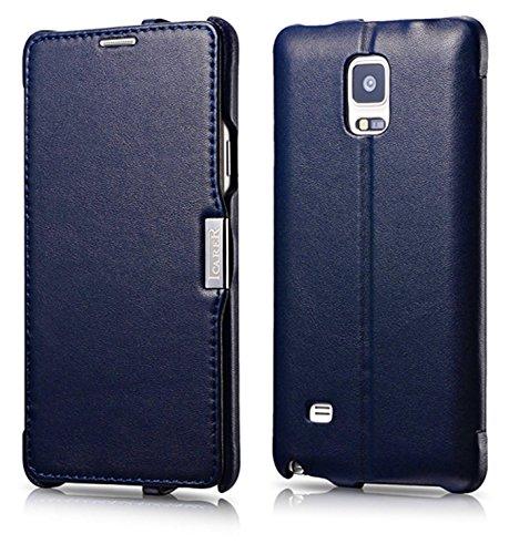 ICARER Luxus Tasche für Samsung Galaxy Note 4 / SM-N910 / Case mit Echt-Leder Außenseite/Schutz-Hülle aufklappbar/ultra-slim Cover/Etui/Blau