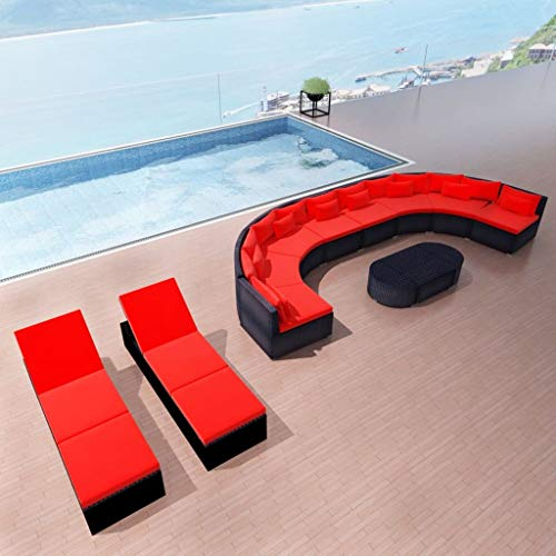 Tidyard Gartensofa Garnitur Lounge Set mit Sonnenliegen   Poly Rattan   Rattansofa Gartenlounge Set Gartenmöbel Sitzgruppe Gartenset Gartengarnitur