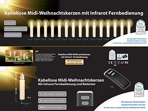 15er Set LED Weihnachtskerzen Elfenbein / Creme inkl. Batterien, Flackermodus, GS geprüft, Hansecontrol Testnote: 1,9 - kabellose Weihnachtsbaumbeleuchtung für Innen- und geschützten Außen