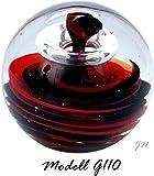 Traumkugel- Briefbeschwerer groß: Motiv Spirale in rot und schwarz