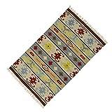 Indianbeautifulart Multicolour Bodenführung Dari Baumwolle Jute Flickenteppich Streifenmuster Kids Play Wurf 58 x 35 Inches