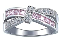 Bigood Women's Cross Crystal CZ Band Ring in Plated 925 Sterling Silver (Pink) 7