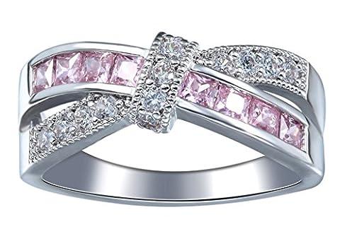 Bigood Bague Bijoux Femme Cristal Anneau Fantaisie Fiançailles Mariage 925 Argent Rose Périmètre 54.4cm