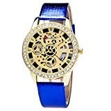 Rosepoem Relojes deportivos Relojes de los deportes al aire libre Cuarzo reloj analógico dial del reloj grande reloj deportivo de la banda de cuero para los hombres Negro