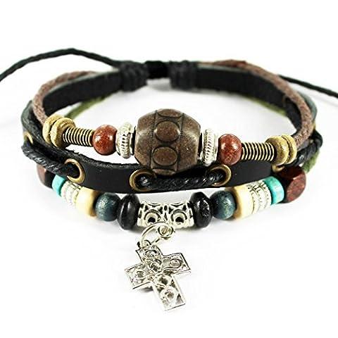 Plus de Fun Pendentif Croix Bracelet réglable Cordon Cuir tressé Wrap avec perle ovale en bois classique