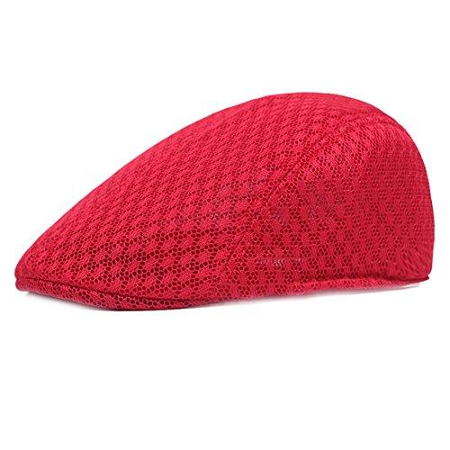 XRDSS Flatcap Schiebermütze Schirmmütze Gatsby Sommer Kappe Mütze (Rot) Irish Mesh-hut