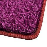 Shaggy Teppich Barcelona | weicher Hochflor Teppich für Wohnzimmer, Schlafzimmer und Kinderzimmer | mit GUT-Siegel und Blauer Engel | verschiedene Größen | viele moderne Farben | 66x130 cm | Berry
